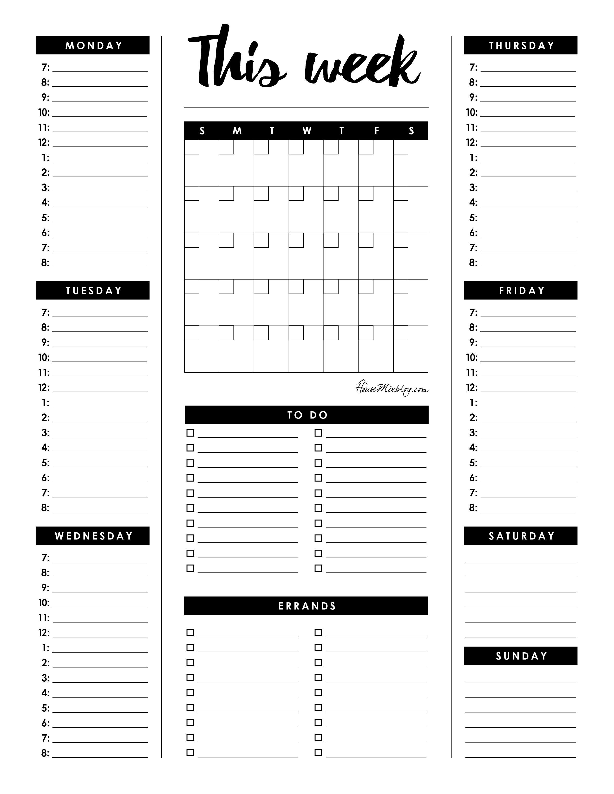 Weekly Planner Printable Printable Planner Weekly Planner