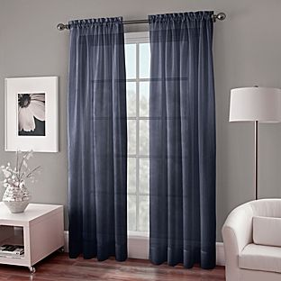 Crushed Voile Sheer 63 Inch Window Curtain Panel In Indigo Blue