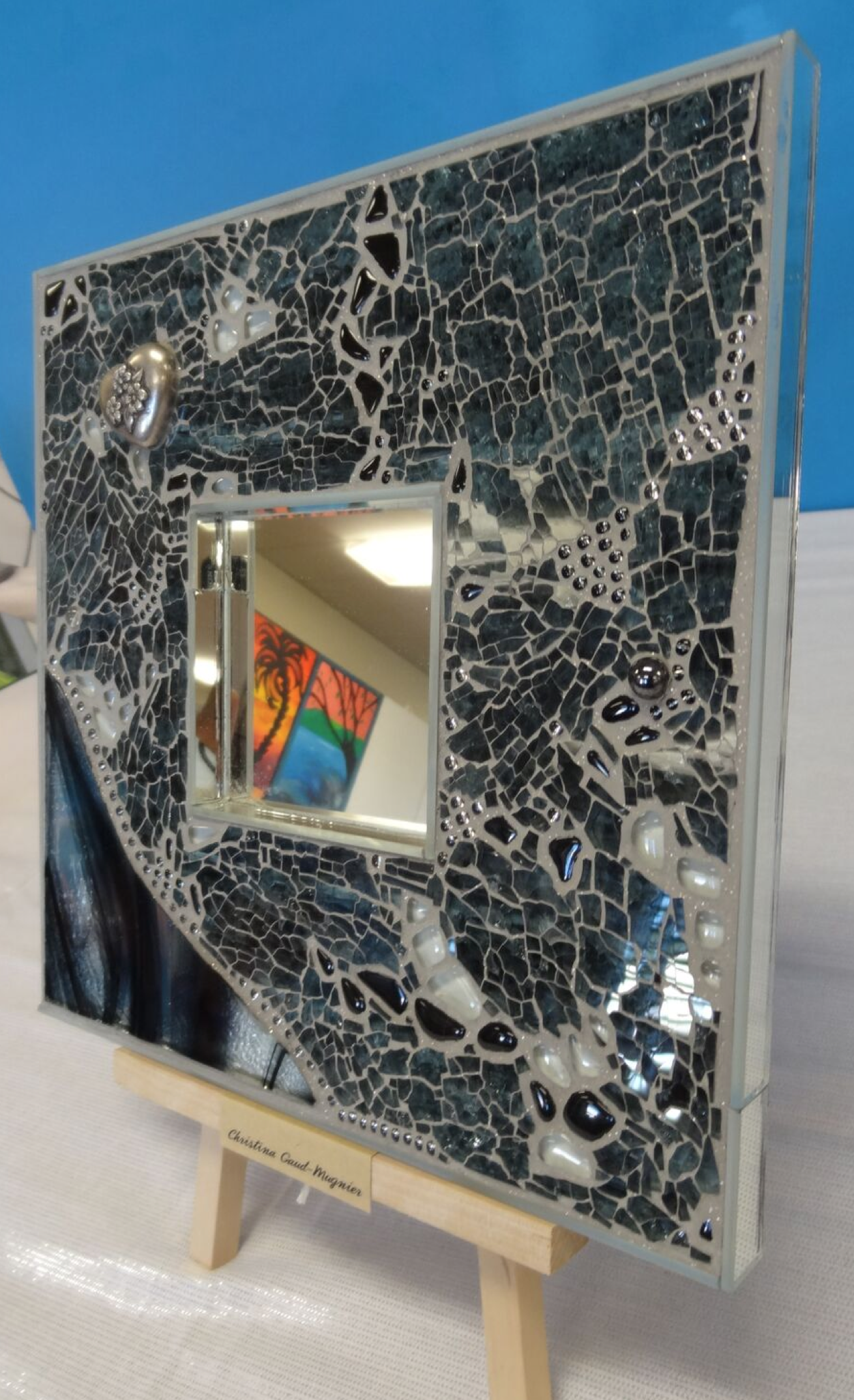miroir :stained glass, nuggets et verre feuilleté