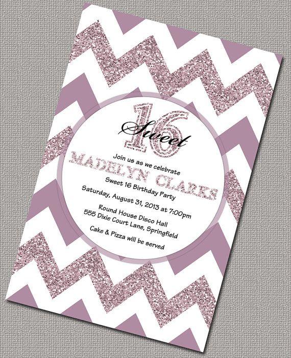 Sweet 16 invitations purple teen birthday invite chevron
