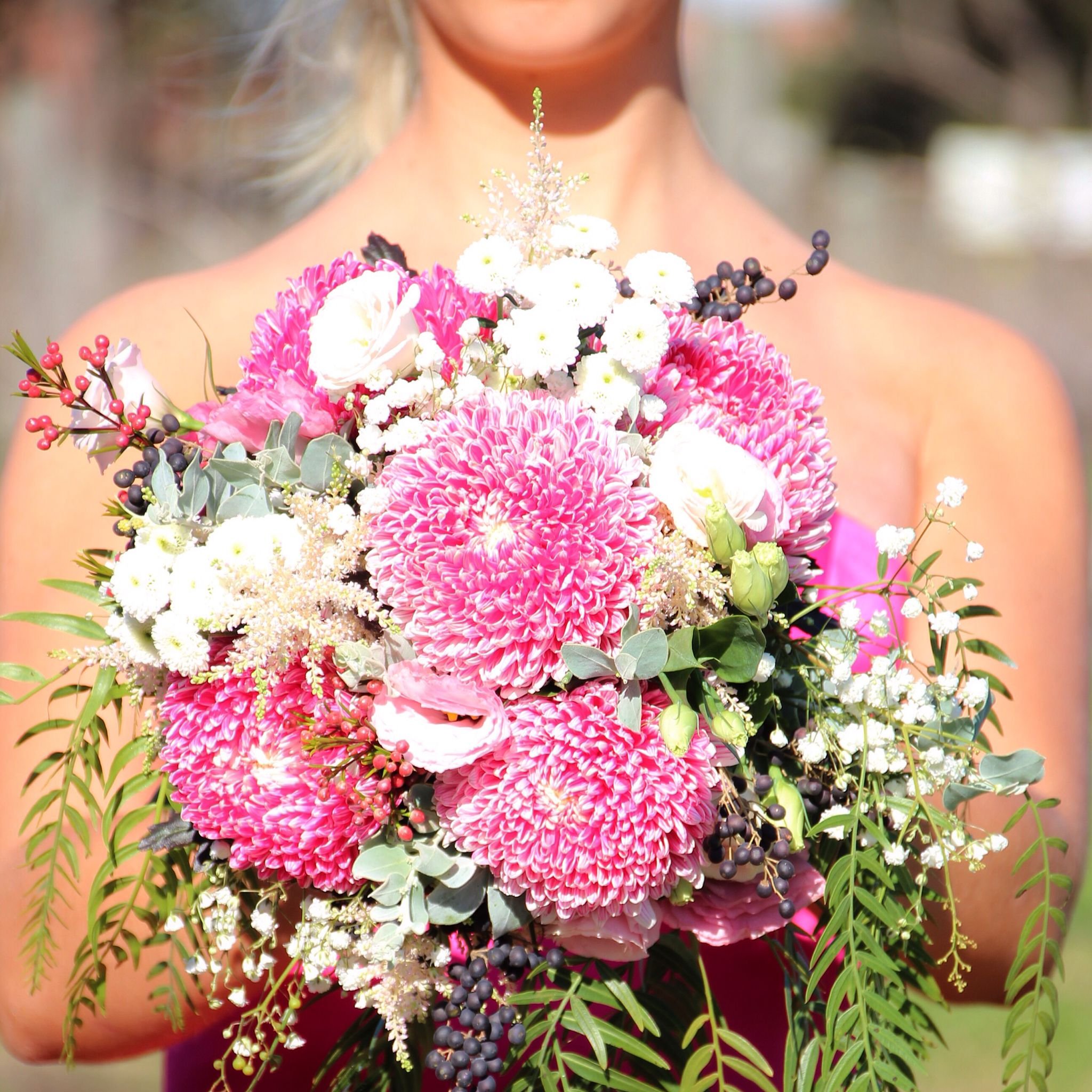 Pink Chrysanthemum bouquet #bridesmaid #weddingflowers ...