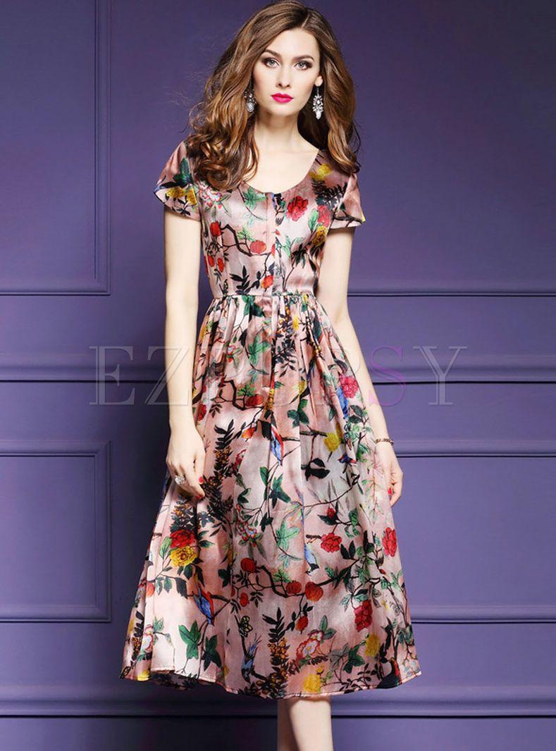 Vintage Print O Neck Short Sleeve Sheath Skater Dress Flare Dress Pattern Best Formal Dresses Simple Dresses [ 1066 x 789 Pixel ]