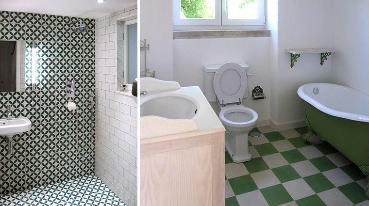 Ref 10143 paroi douche carreaux ciment salle de bain - Douche carreaux de ciment ...
