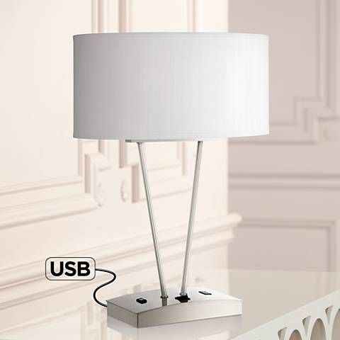 Leon Metal Table Lamp With Usb Port And Utility Plug 8k523 Lamps Plus Metal Table Lamps Lamp Table Lamp