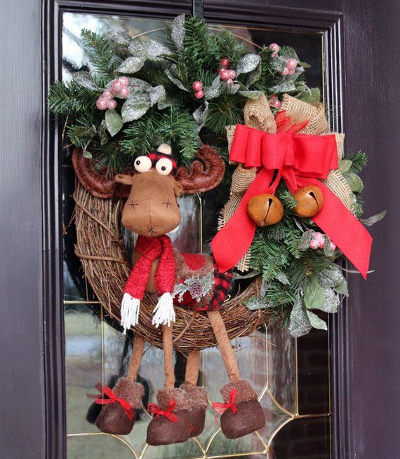 Christmas wreath with Girl Moose for Front Door, Farmhouse Christmas