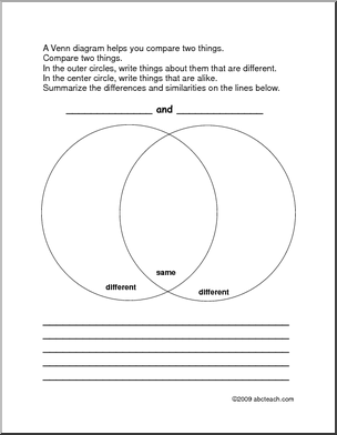 Venn Diagram With Instructions Graphic Organizer Venn Diagram Graphic Organizers Compare And Contrast