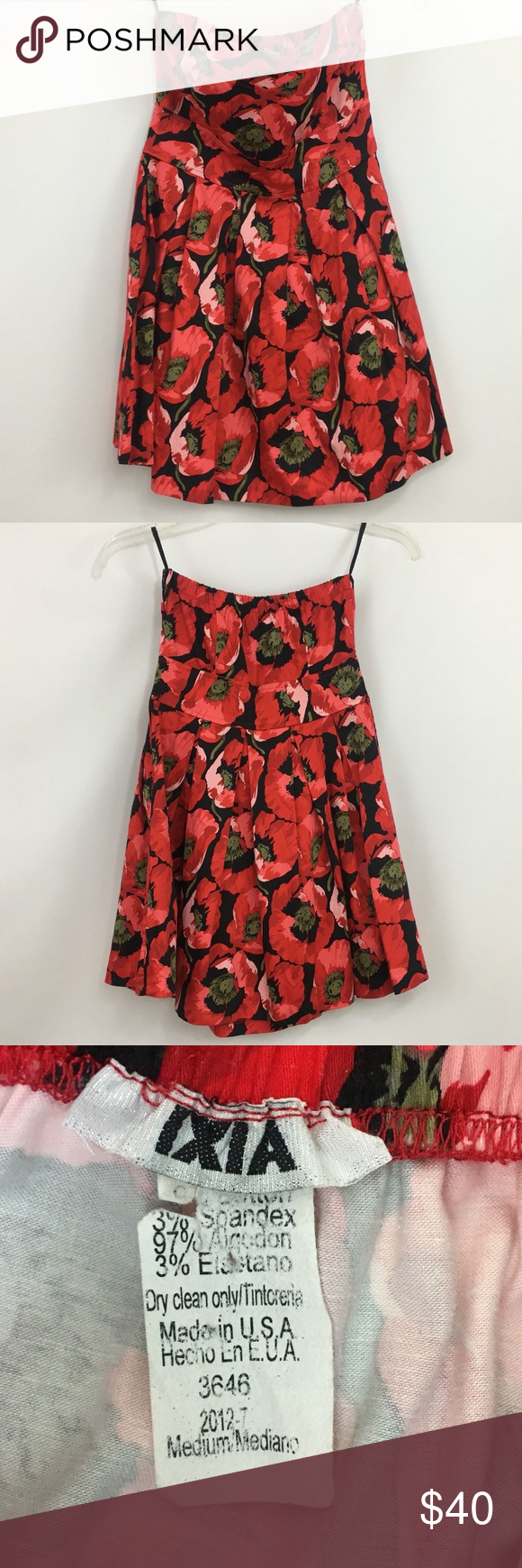 Ixia dress size medium black red flowers in my posh