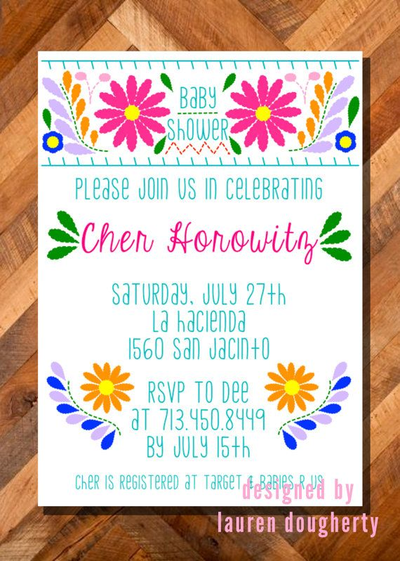b11416331b49 Mexican flower embroidery dress baby or wedding Shower invitation ...