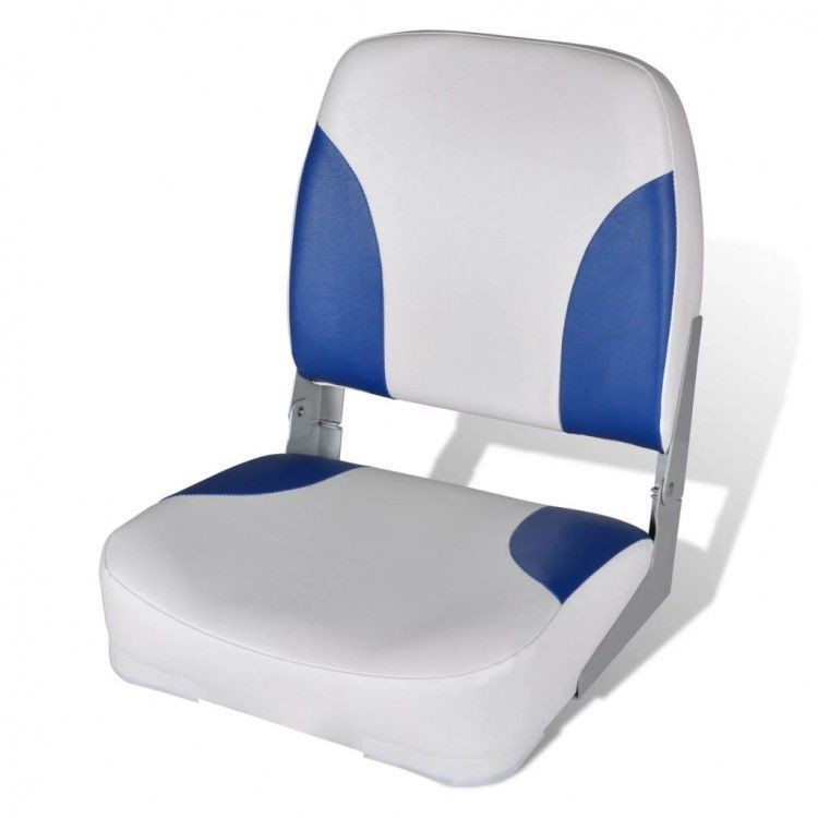 Boat seat foldable backrest blue white waterproof pillow