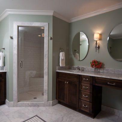 enclosed corner w/door | corner shower, marble bathroom