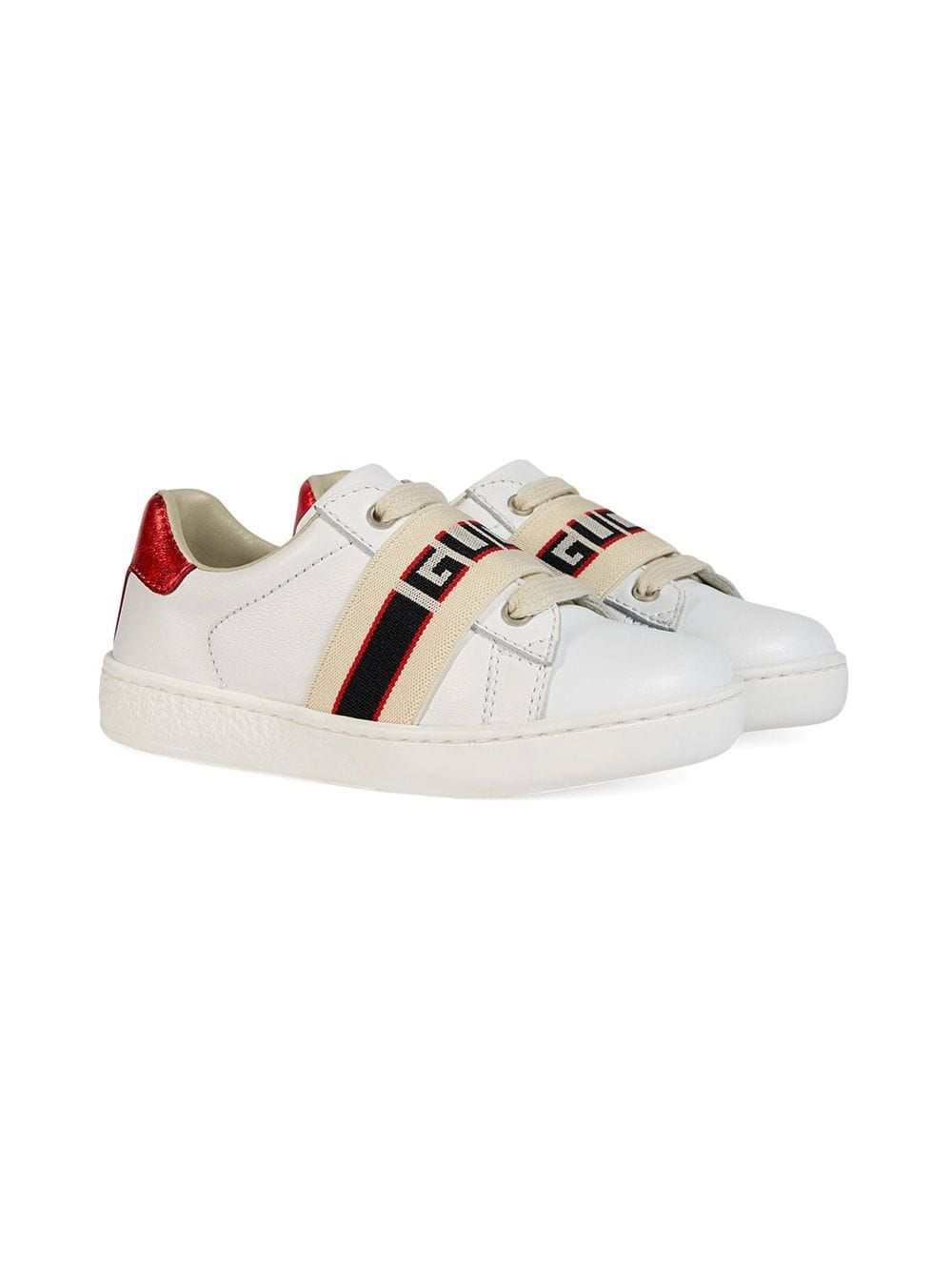 200dc4597 Gucci Kids Toddler Ace leather sneaker with Gucci stripe - White in ...
