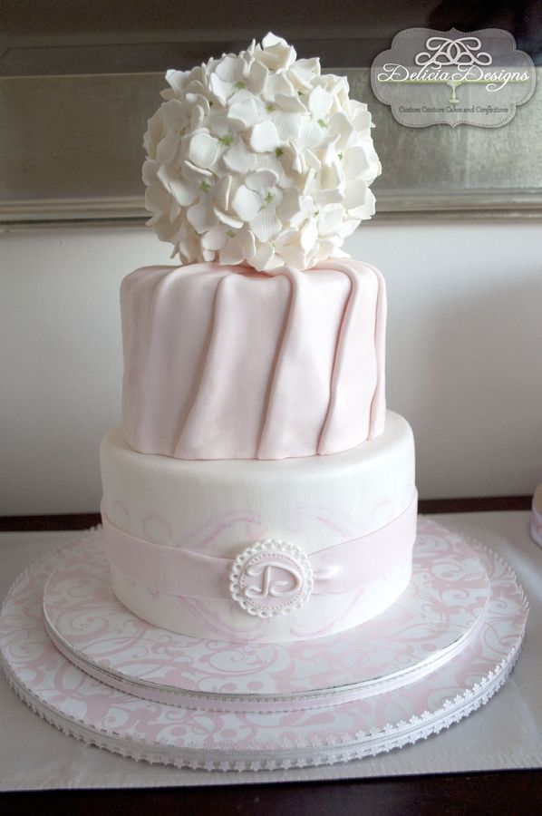 A pomander of hydrangeas, shimmering pink pleats and light pink scroll stenciling.  A huge thanks to Royal Bakery for the amazing pleating tutorial: