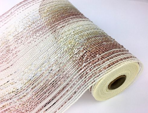 10 Inch X 10yd Ivory Faux Poly Jute Mesh With Metallic Rose Gold In An Ombre Style With Colors Blending Into Each Oth Mesh Garland Deco Mesh Wreaths Gold Blend