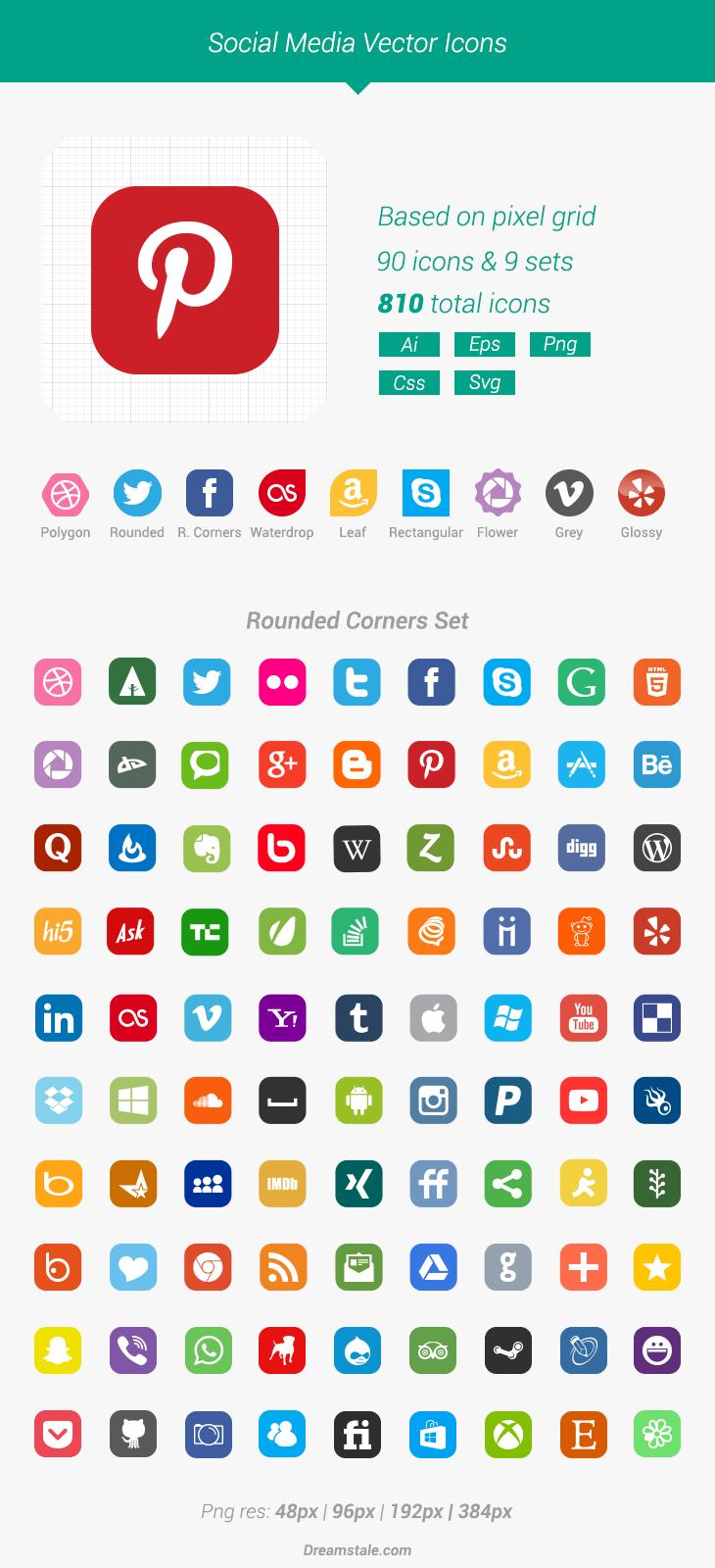 Free Download 90 Vector Social Media Icons Dreamstale Social Media Icons Media Icon Social Media Logos