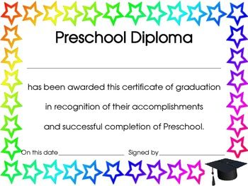 End of The Year Preschool Diploma, Certificate or Award ...