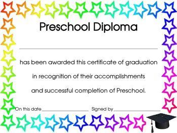 Printable Preschool diploma | Work: Infants-PreK | Pinterest