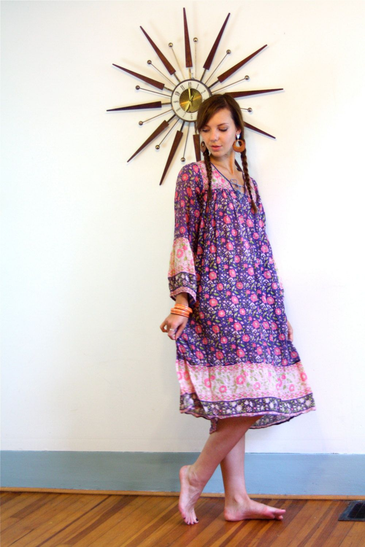 Vintage s indian gauze hippie dress boho chic block print pink