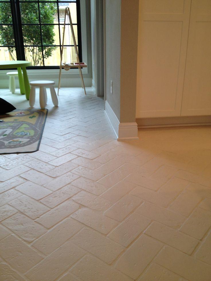 painted brick floor for laundry room Brick flooring