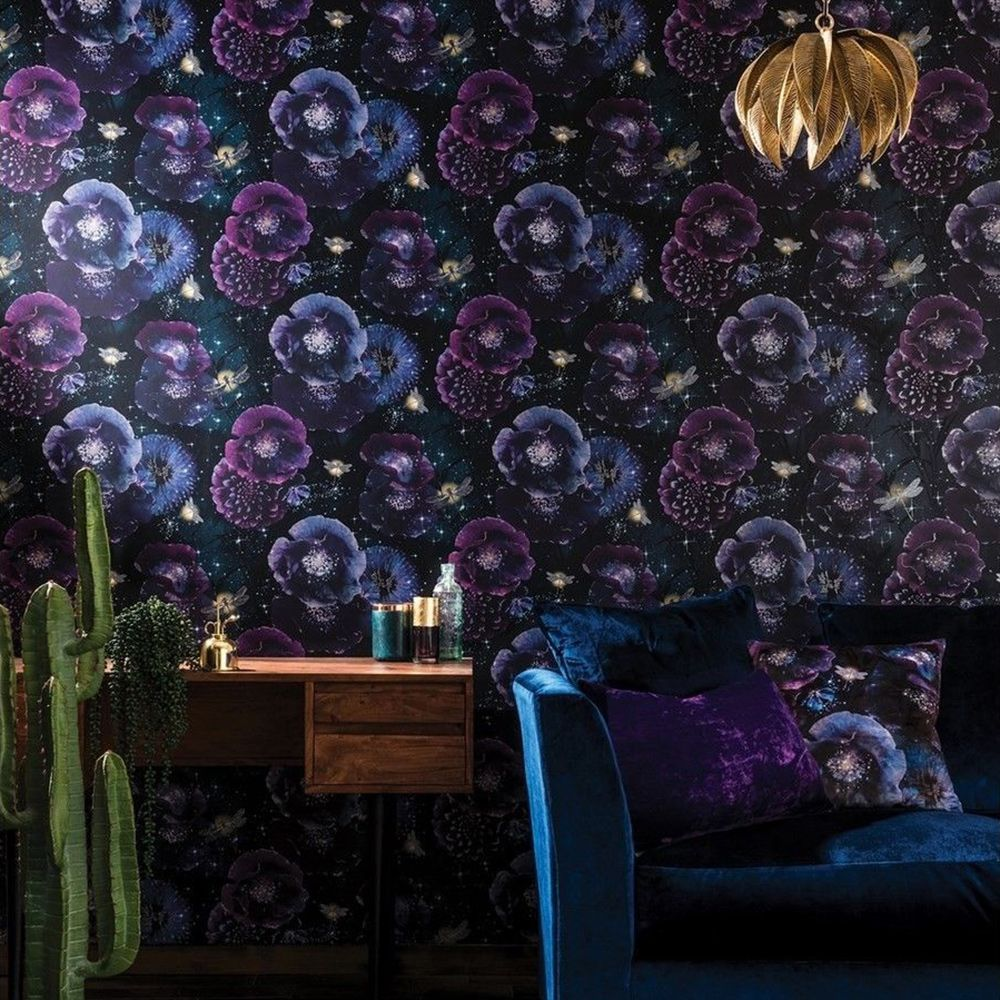 Fantasia Nocturnal Wallpaper Purple Teal Arthouse 692301