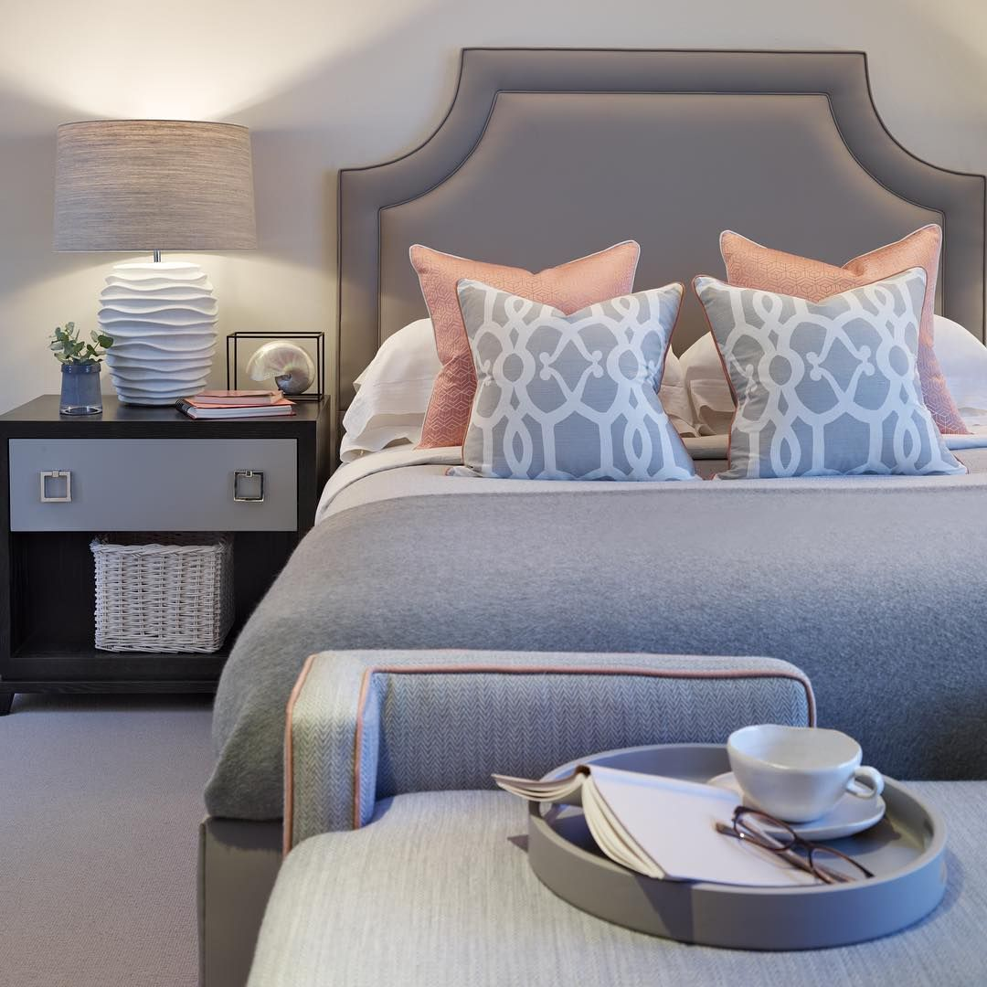 """Coral And Gray Bedroom: """"Grey And Coral Bedroom From The Notting Hill Project"""