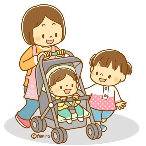 ベビーカーに乗る赤ちゃんと親子のイラスト ソフト เด ก คาวาอ