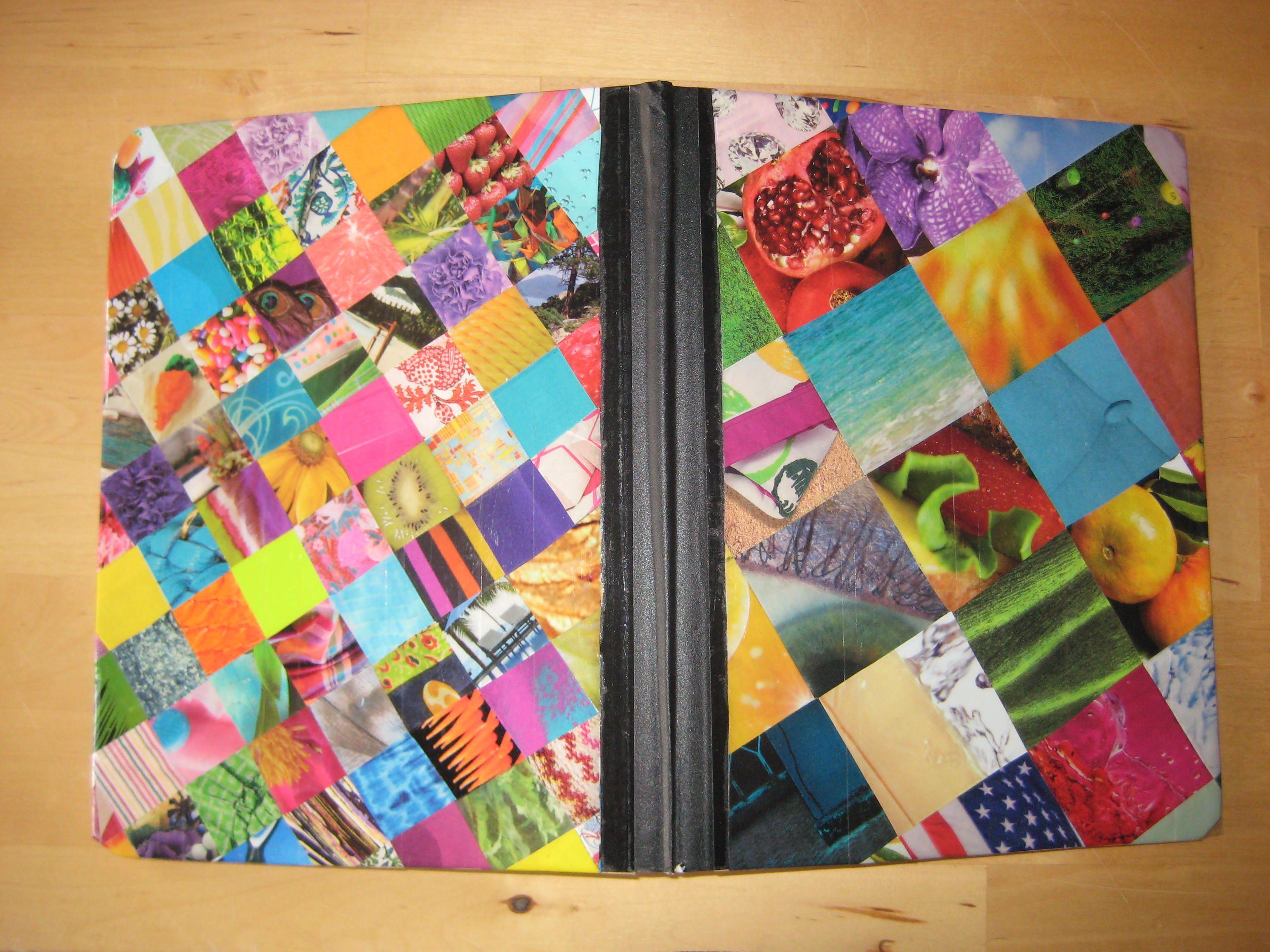 Magazine squares glued onto a composition notebook ...