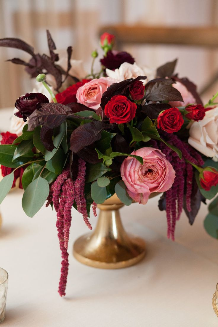Deep Burgundy And Red Centerpiece With Pops Of Blush In Gold Urn
