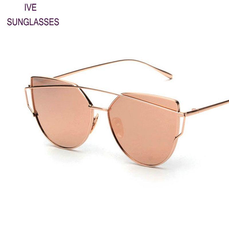 2f5a26f6009ff Pas cher IVE Nouvelles Femmes Cat Eye lunettes de Soleil Mode Femmes Marque  Designer Double Poutres