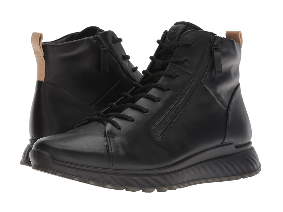ECCO ST1 High Top Men's Lace up casual Shoes Black | Leather