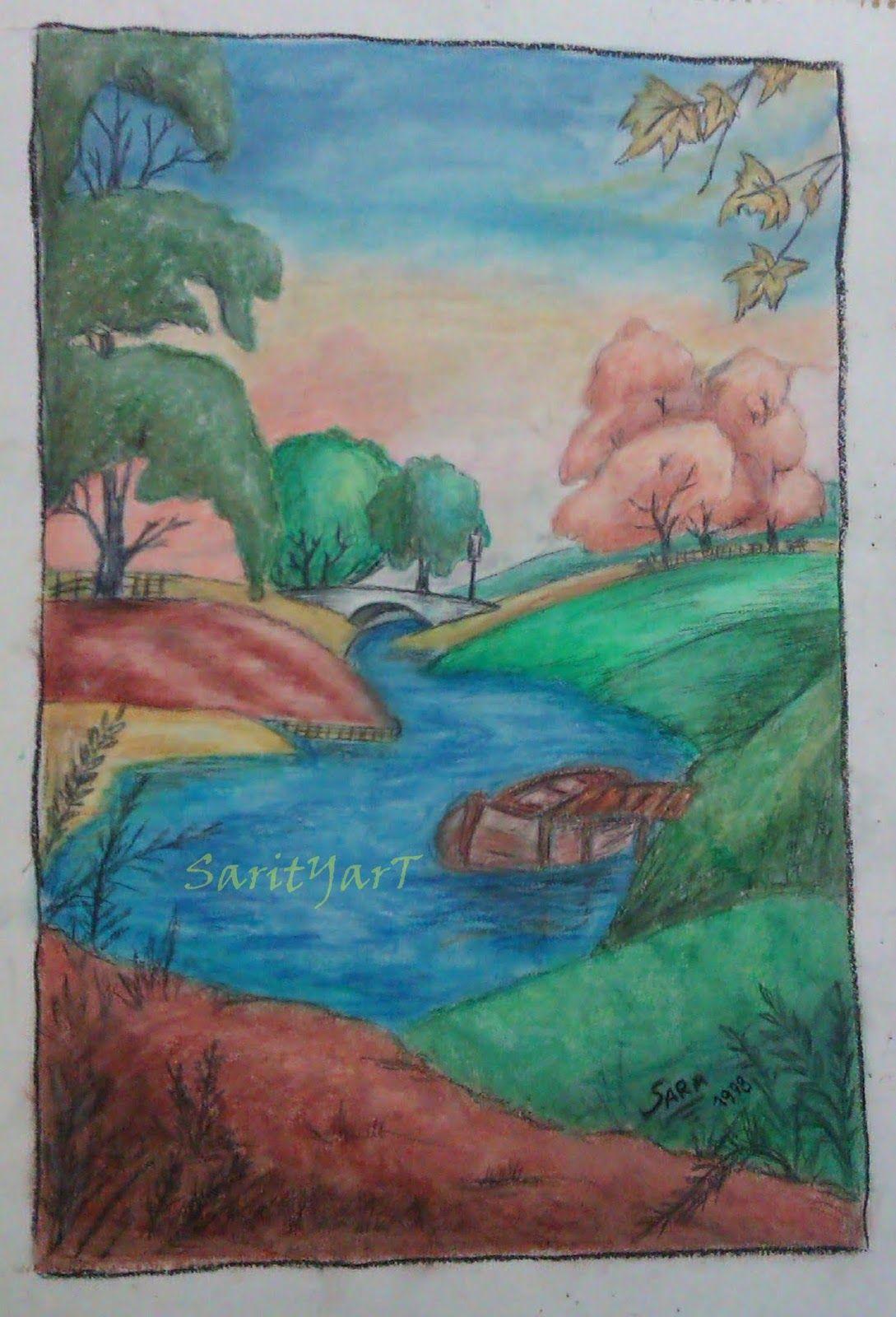 Paisaje pintado con ceras sarityart cuadros pintados a for Cuadros pintados a mano