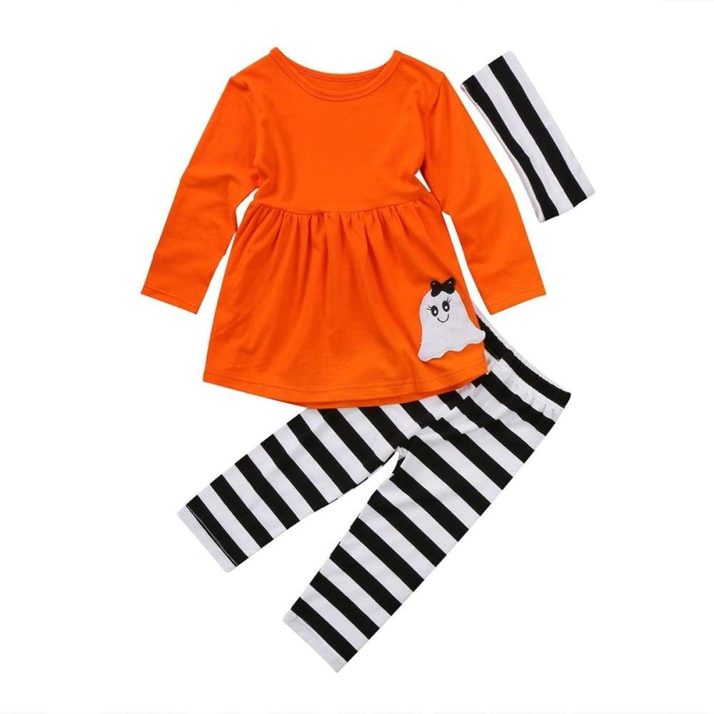 3pcs Kids Toddler Baby Girls Tops+Pant+Headband Outfits Costume Clothes Age 2-6Y