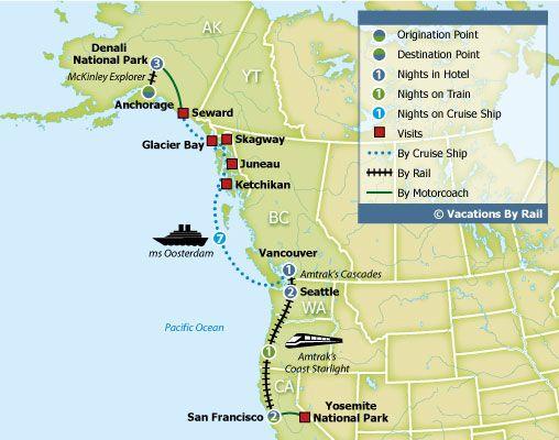 Yosemite To Denali With Alaska Cruise Route Map Travel Pinterest