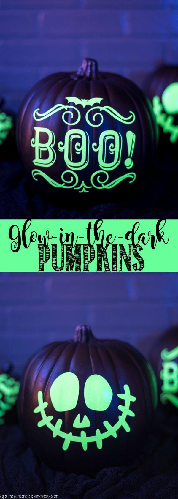 Glow-in-the-Dark Pumpkins Dark, Pumpkin decorating and Pumpkin carving - glow in the dark halloween decorations