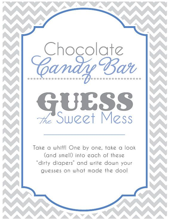 Baby Shower Game - Table Sign Chocolate Candy Bar Game ...