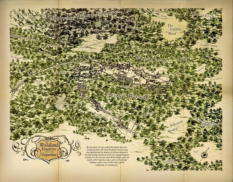 The Woodland Kingdoms at the time of the Vespertine, from the The Lost Boy by Greg Ruth. ISBN 9780439823326.