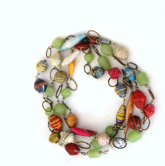 Long Recycled Paper Beaded Necklace