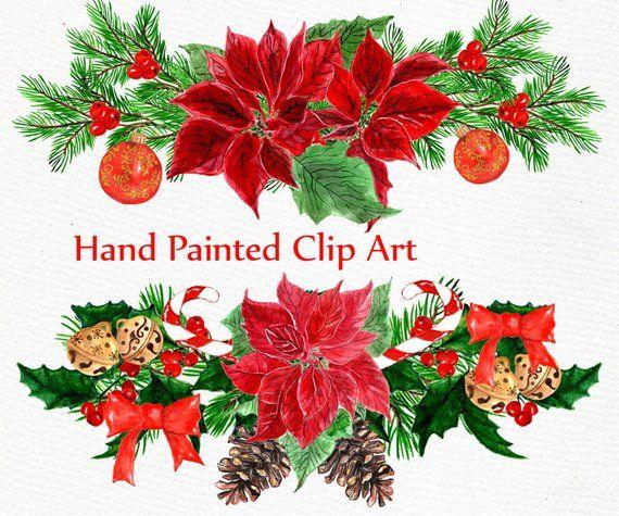 Christmas wreath poinsettia. Clipart clip art watercolor