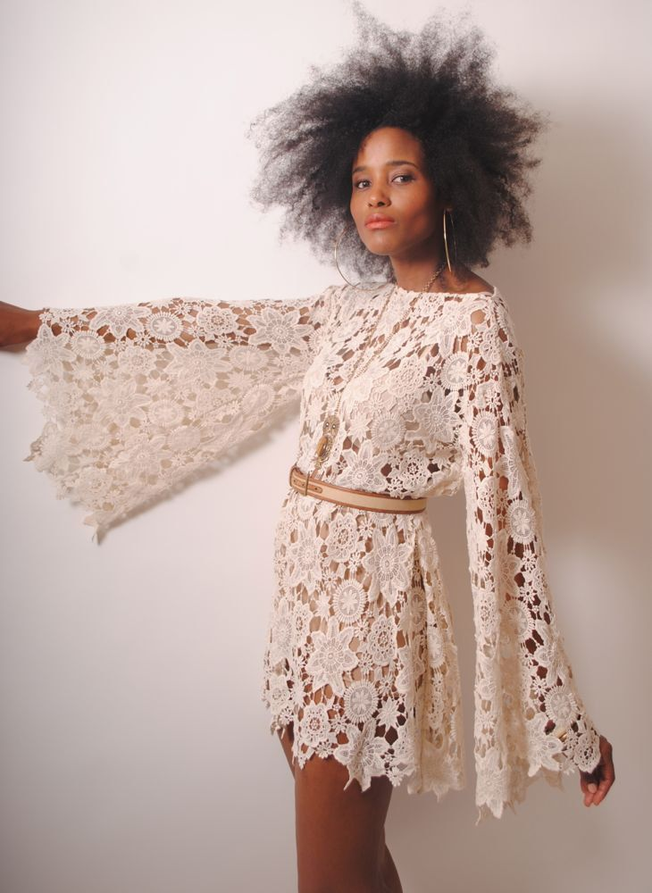 5a32444e37bf BELL SLEEVE vintage-inspired 70s style ivory LACE crochet sheer hippie mini  dress. $200.00, via Etsy.