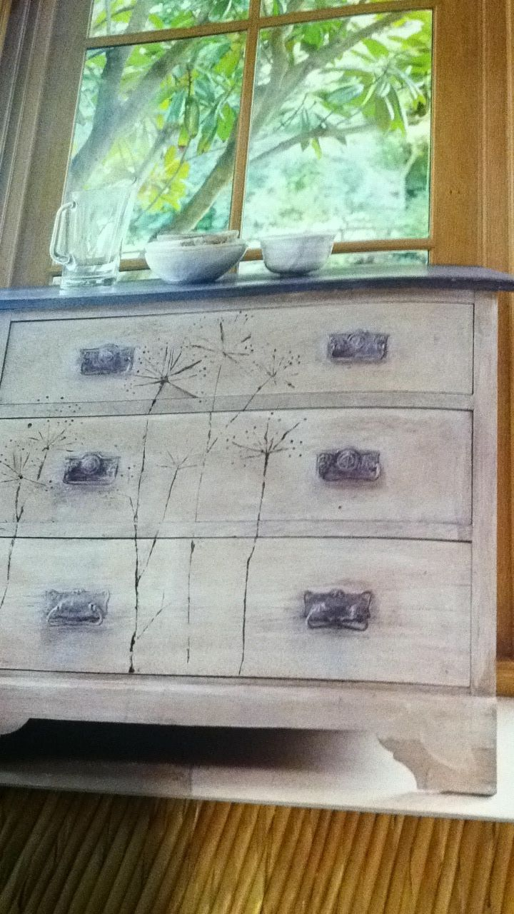 This is gonna be my first Annie Sloan paint project.  Gonna do it on a dresser.  Love the flower design!