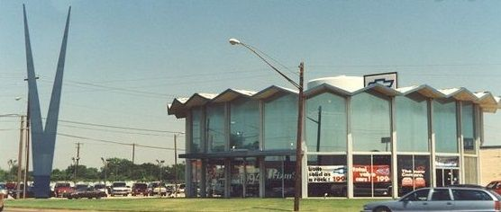 Old Vandergriff Chevrolet Building in Arlington, TX - NE corner of