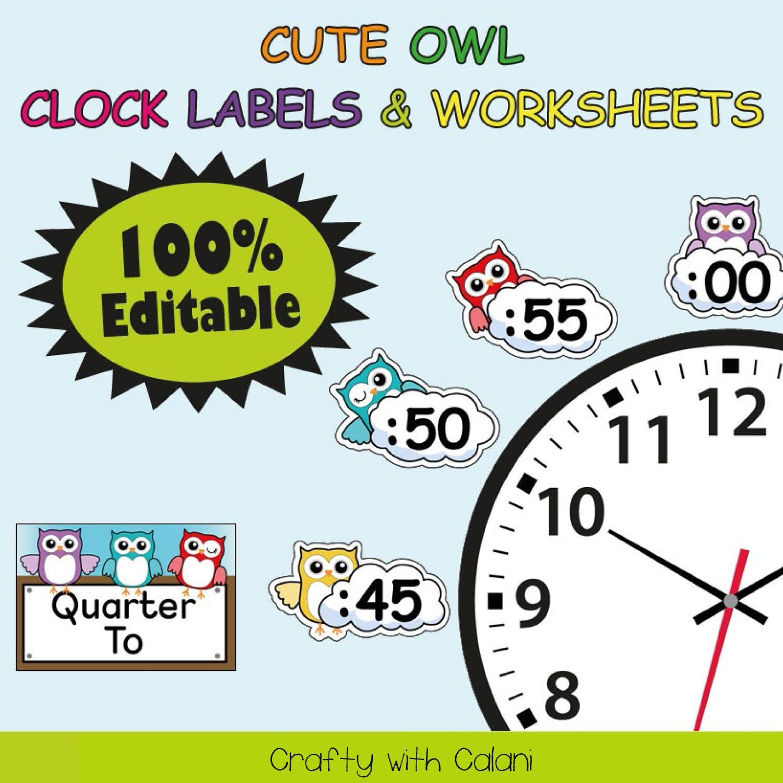 Clock Labels Classroom Decoration Owl Theme Classroom