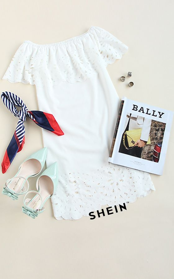 White Cutout Off The Shoulder Ruffle Dress