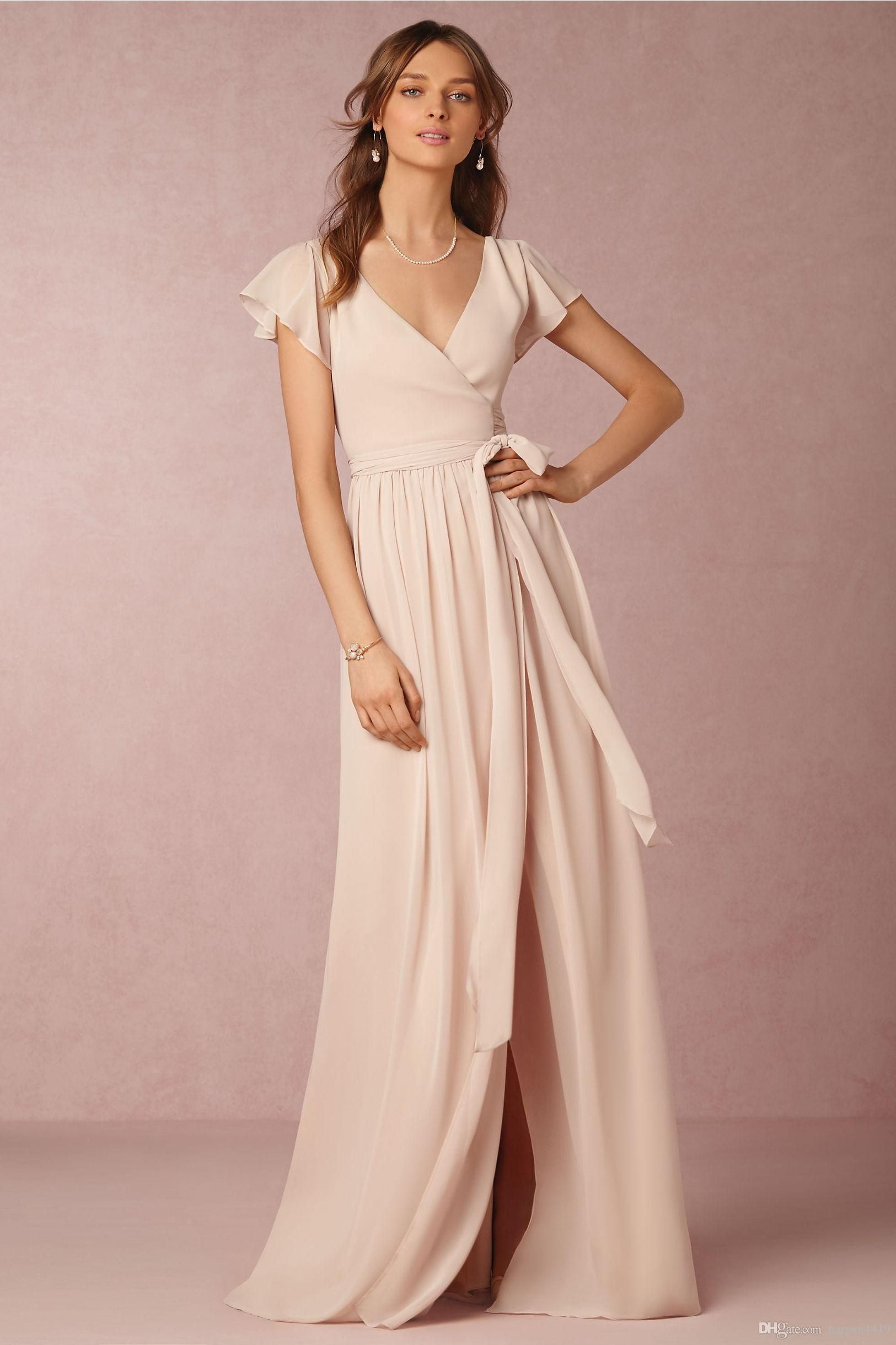 Short sleeve dresses for wedding guests   Cheap Bridesmaid Dresses V Neck Wedding Guest Wear Nude Chiffon