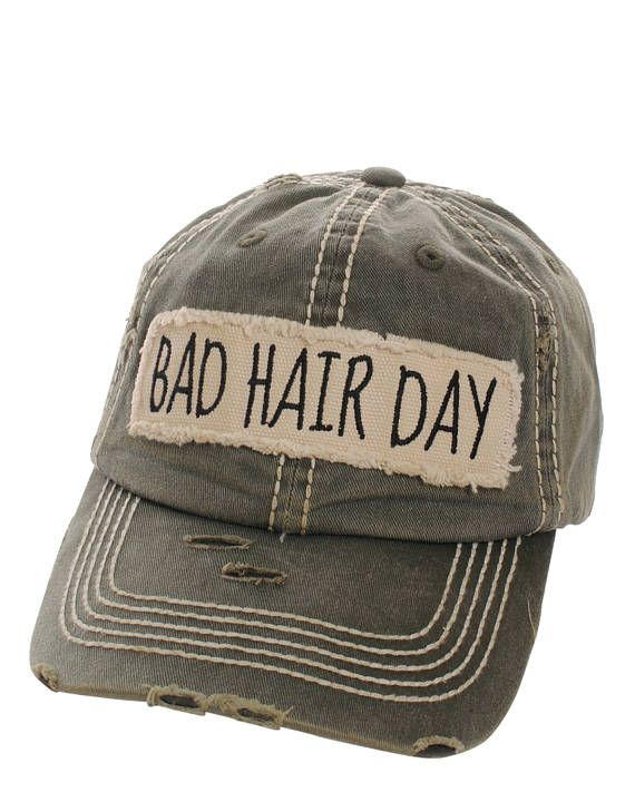 0aff9700018 Bad Hair Day Distressed Baseball Cap Hat Olive Green