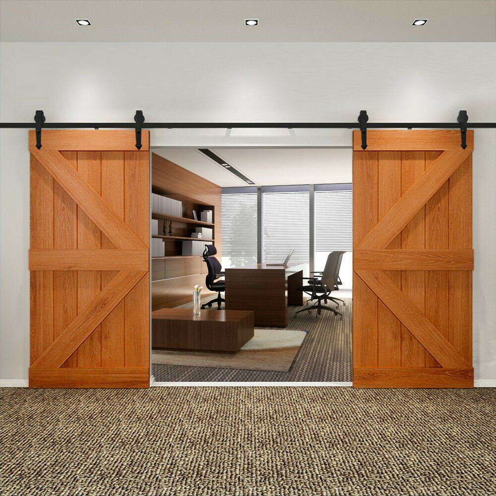 12ft Double Sliding Barn Door Hardware Set Kit With Track Roller Kitchen Closet In 2020 Double Sliding Barn Doors Barn Door Sliding Barn Door Hardware