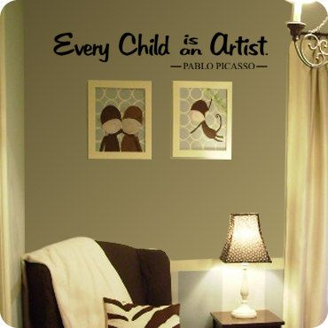 Every Child is an Artist Pablo Picasso  Wall by ThatsTotallyCool,