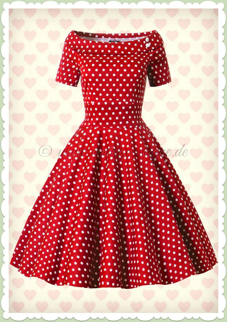 Dolly & Dotty 15er Jahre Rockabilly Punkte Kleid - Darlene - Rot