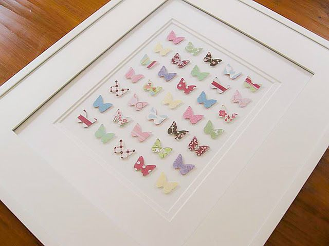 Simple wall art using scrapbooking paper and butterfly ...