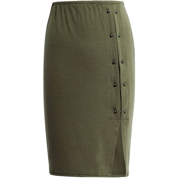 Yoins Army Green High-waisted Rivet Detail Split Skirt ($14) ❤ liked on Polyvore featuring skirts, green, high-waisted pencil skirts, pencil skirt, olive skirt, green skirt and sexy skirt