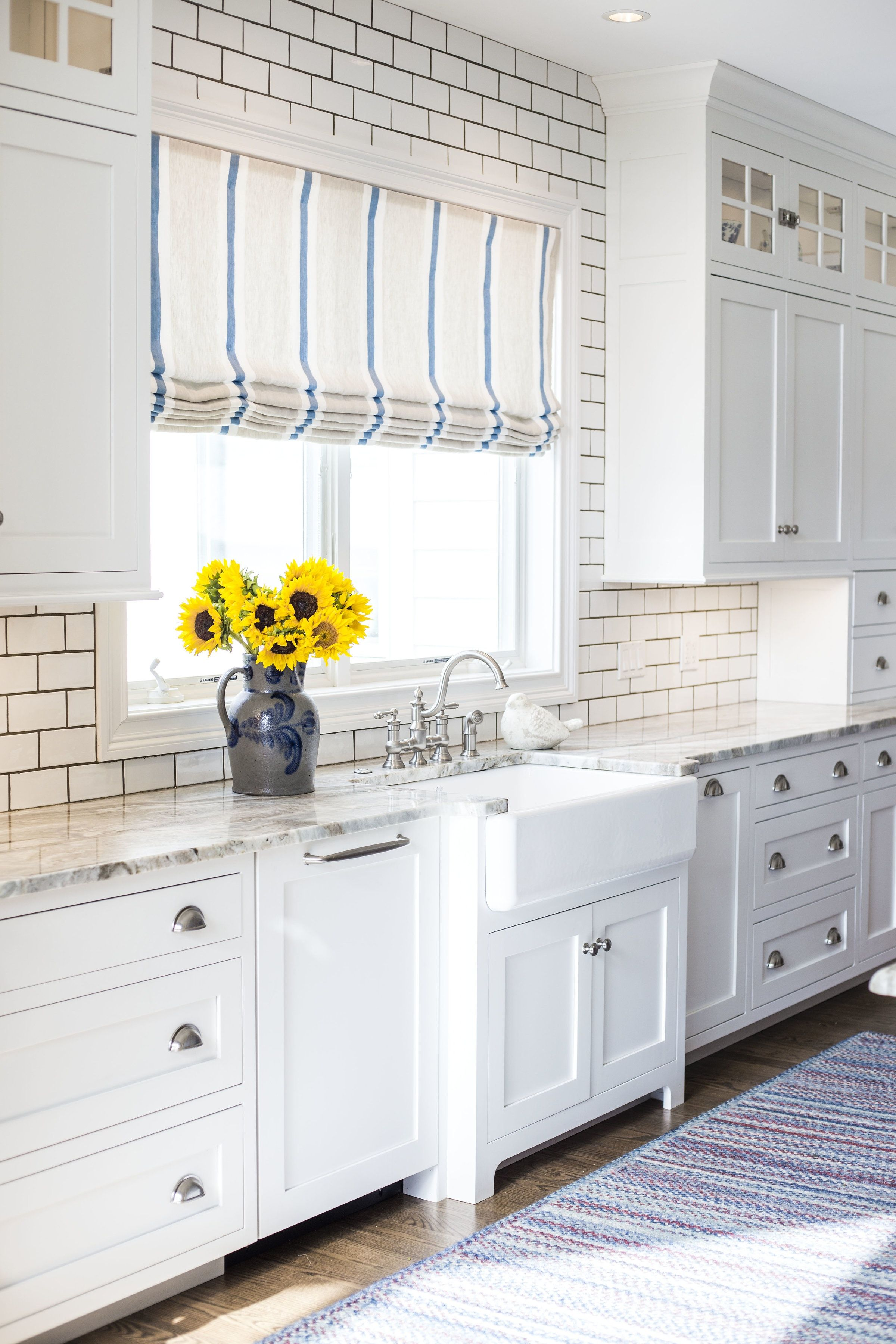 Farmhouse, Blue and white kitchen, Farmhouse sink close up by LSM ...